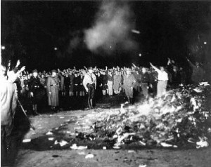 Book burning in Berlin, 1933.