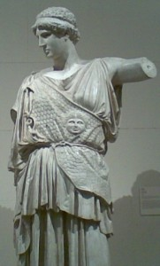 Panthea's nose and the sides of her face could have been similar to this Lemnian Athena by Phidias.