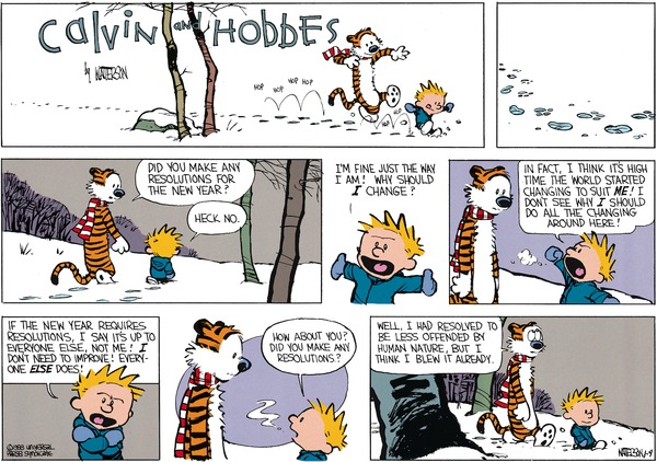 Calvin and Hobbes by Bill Watterson, originally published on 3 January 1988. Calvin seems to represent many Finnish politicians, unfortunately.
