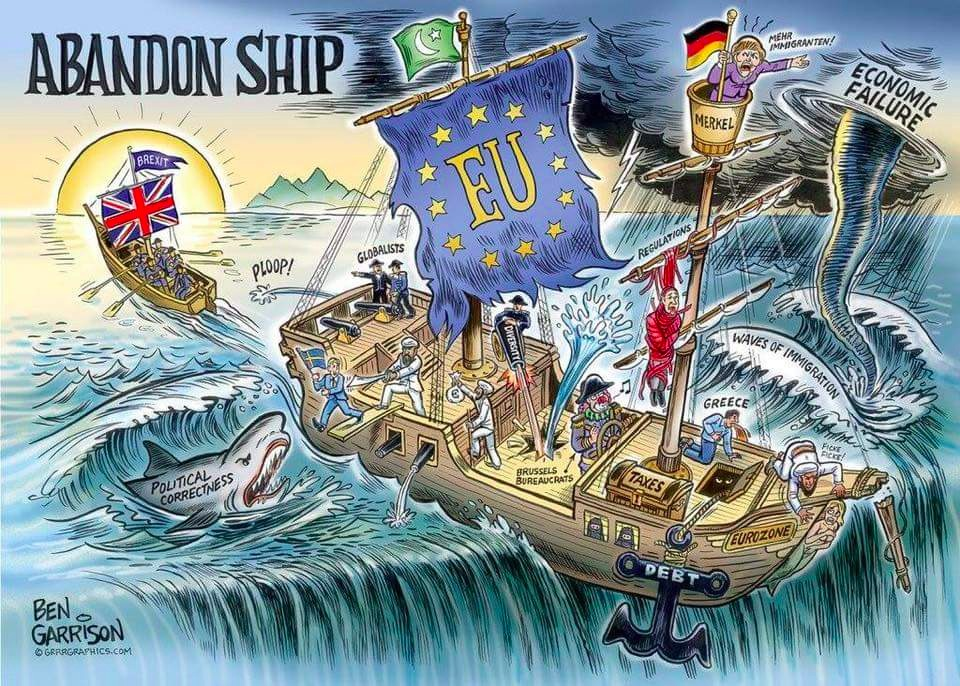 Ben Garrison's cartoon is harshly critical of the EU.